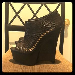 Black Wedge Heels: H by Halston